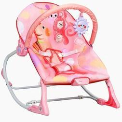 Adjustable Toddler Swing Bouncer & Rocker-Pink