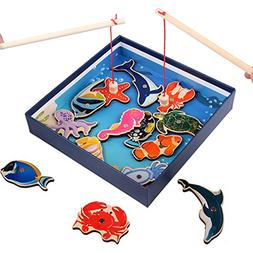 OUYAWEI Baby Early Educational Toys Wooden Engraving Fishing