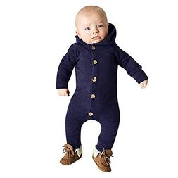 FEITONG Infant Baby Girls Boys Long Sleeve Solid Hooded Jump