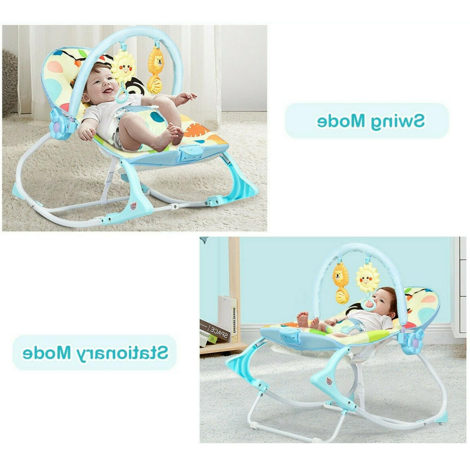 Baby Bouncer Rocking Chair With Toys, Adjustable Foldable