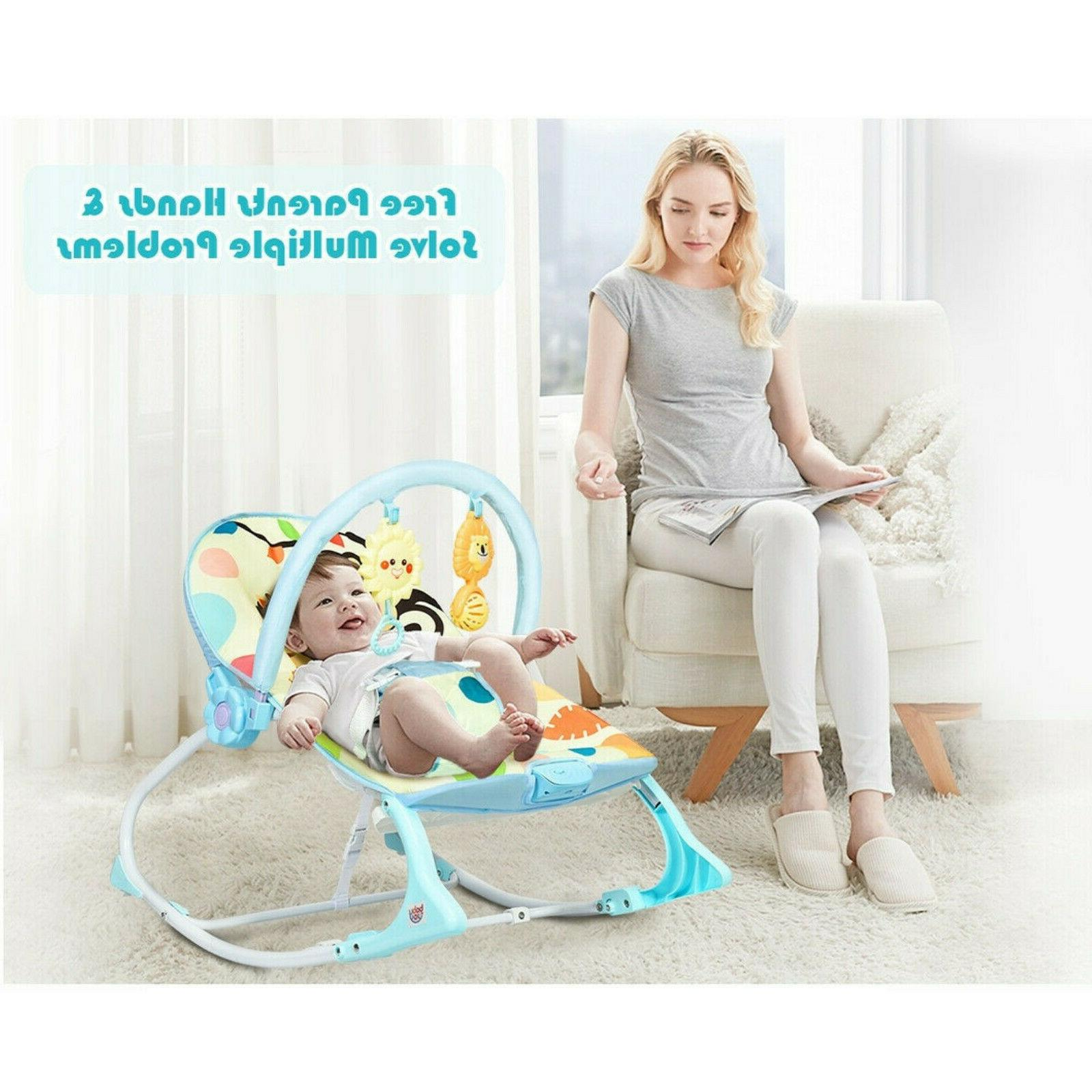 Baby Bouncer Bed Massager Rocking Chair Adjustable Foldable