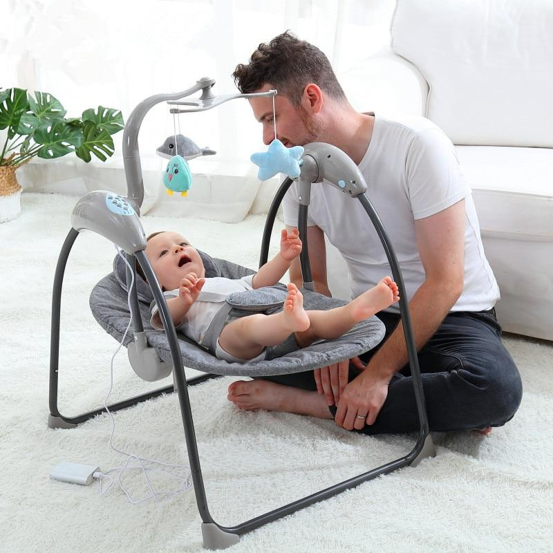 Baby For Electric Baby Bouncer <font><b>Rocking</b></font> Cradle With Remote Control Baby