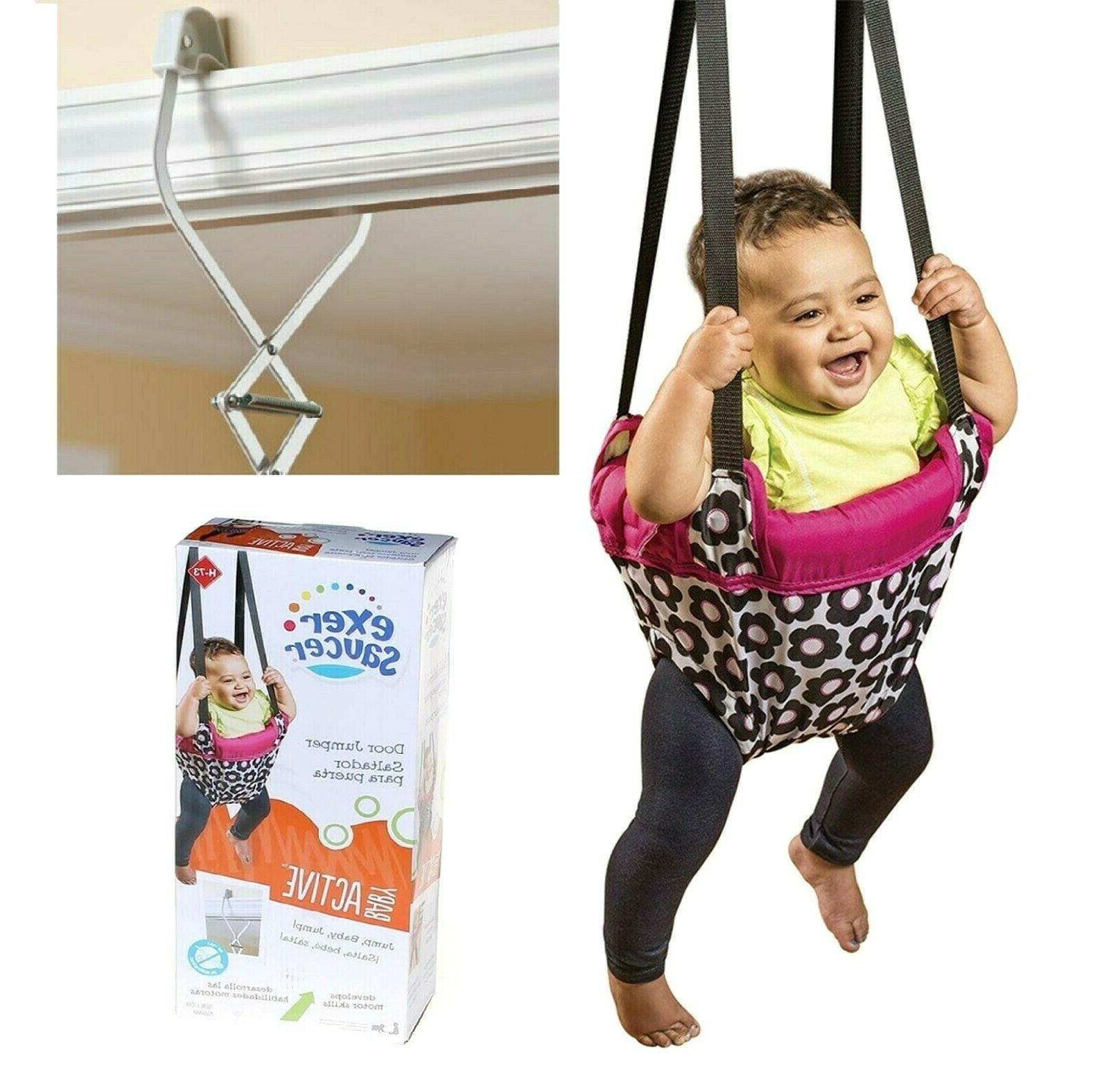 evenflo door jumper bouncer swing girls pink
