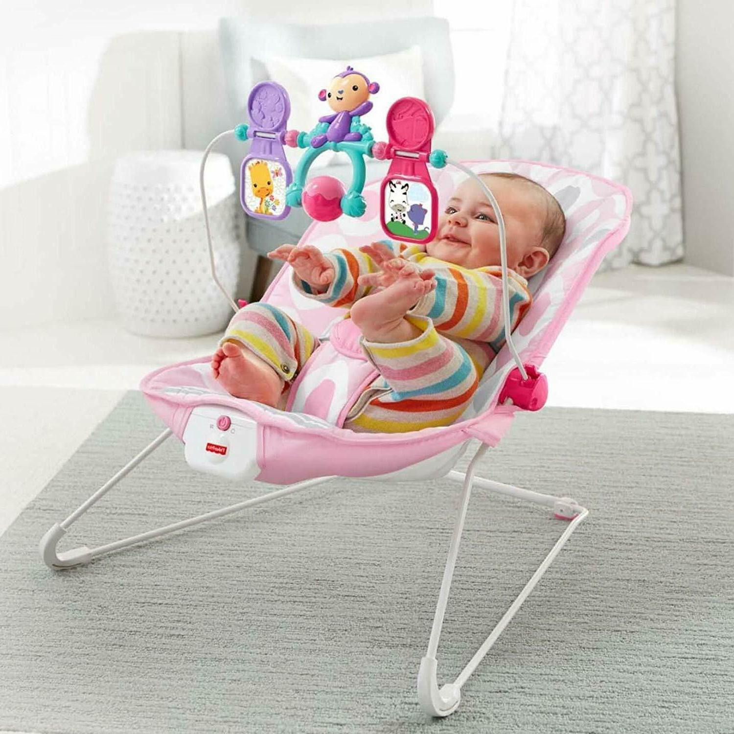Baby Girl Bouncer Chair Pink Infant Toddler