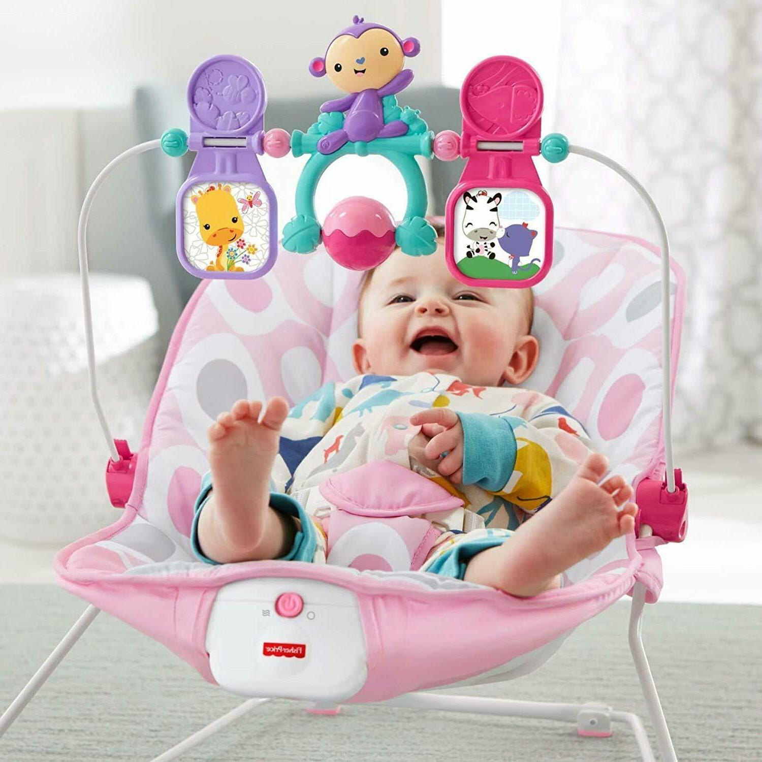 Fisher-Price Deluxe Bouncer: Pink Ellipse Baby Play Pin Toy