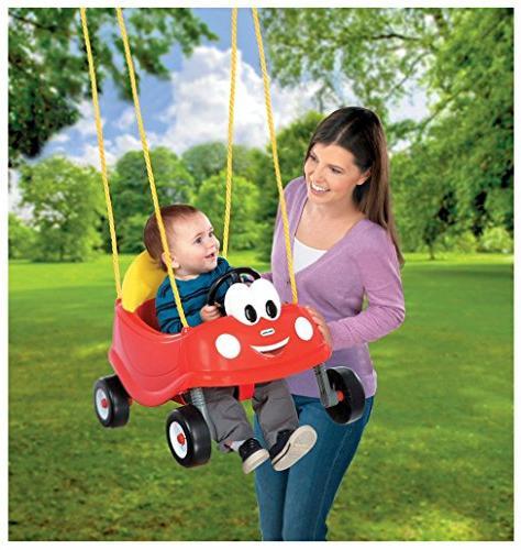 Unbranded Swing Set Red Car Toddler Seat Outdoor Toys Backyard Fun Play