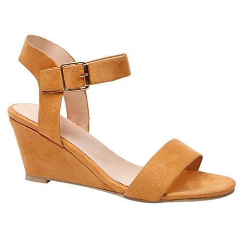 women sandals solid wedges heel