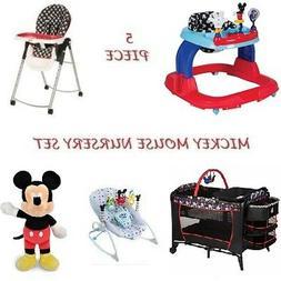 NEW 5 Pc. Mickey Mouse Nursery Set High Chair Playard Walker