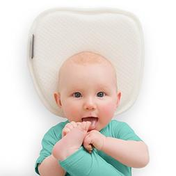 Flat Head Baby Pillow with 2 White Washable Cotton Covers -