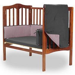 bkb Reversible Portable Crib Bedding Set, Grey/Pink