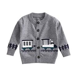Birdfly Toddler Baby Kid Girl Button Down Sweater with Carto