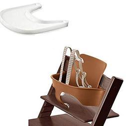 Stokke Tripp Trapp Baby Set - Walnut Brown & Tray - White