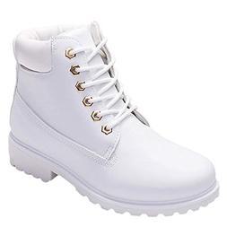 COPPEN Women Boots Retro Solid Ankle Thick Lace-up Short Rou