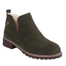 COPPEN Women Boots Vintage Round Toe Shoes Flat Hasp Suede S